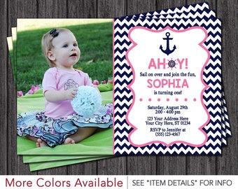 Nautical Birthday Invitation - Pink and Navy