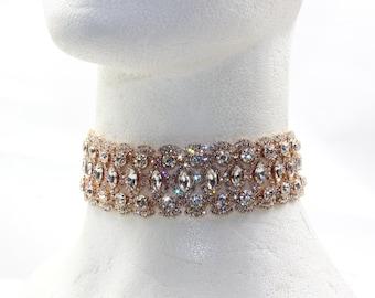 Rose Gold Crystal Choker, Black choker, Rose Gold Choker Jewelry, Chunky Crystal Choker, Crystallized Choker, Rihanna Choker, Diamond Choker