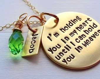 Hold you in My Heart - Hold You in My Heart Necklace - Bereavement Jewelry - Loss of parents - Infant Loss- Child Loss - Memorial Gift