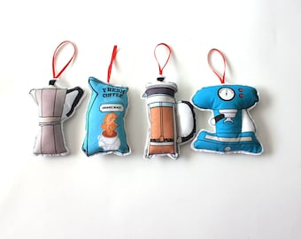 Coffee lover ornaments: Christmas ornament set-Tree decorations