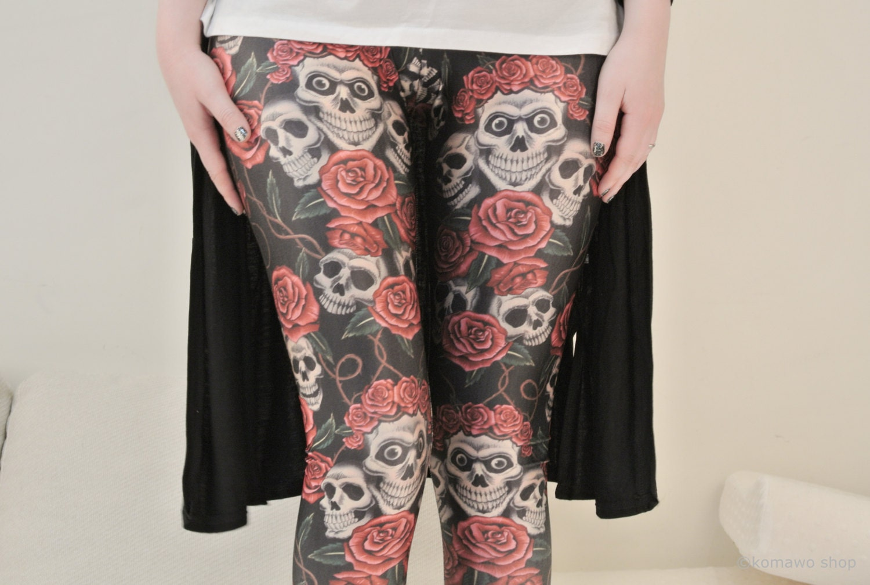 SKULLS and ROSES LEGGINGS Halloween Leggings /Sports pants/