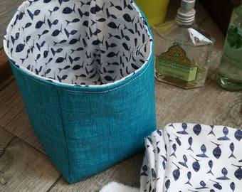 "12 pretty wipes/cotton washable and their ""blue fish"" basket"