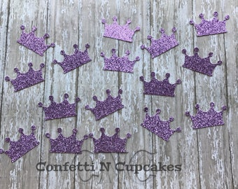 Purple Crown Confetti, Princess party decor, purple glitter crown confetti, party confetti, birth announcements, baby shower, glitter tiara