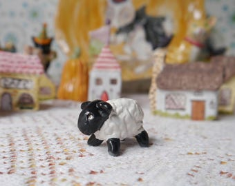 Tiny Ceramic Sheep, Handmade Porcelain Sculpture, Black and White