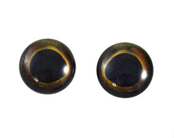 16mm Fish Glass Eyes - Round Yellowfin Tuna Eyes - Pair of Glass Eyes for Doll, Sculpture, Taxidermy or Jewelry Making - Set of 2