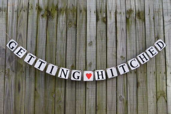 getting hitched wedding banner engagement party decoration