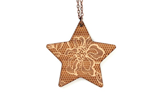 Star necklace with lace pattern - romantic pendant - graphic jewelry - wedding jewellery - lasercut maple wood - statement necklace