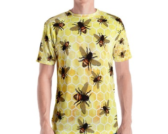 All-Over Bees on Yellow Honeycomb Men's T-shirt XS S M L XL 2XL