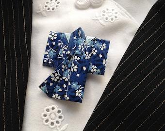 Origami Kimono Pin (blue flower)
