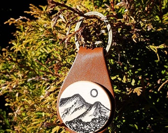 Illustrated wood and leather Key Fob featuring Catbells, the Lake District, Uk,