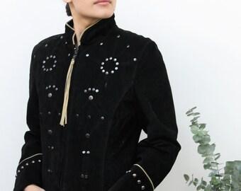 Black Suede Western Style Studded Jacket Size UK 10, US 6, EU 38