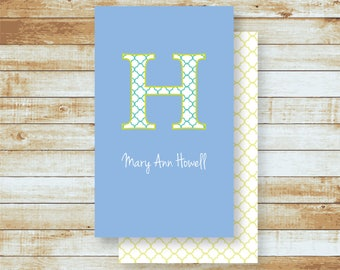 Personalized Calling Cards / Gift Tags / Family / Adults / Quatrefoil Initial