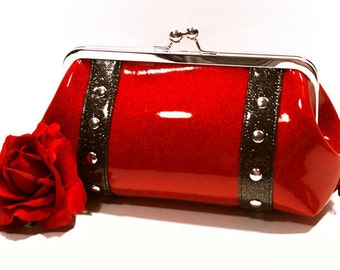 Ruby Red Glitter Vinyl Clutch with Your Choice of Trim - MADE TO ORDER
