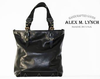 Black Leather Tote 010072