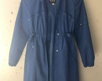 Vintage Blue Rain Jacket size small.