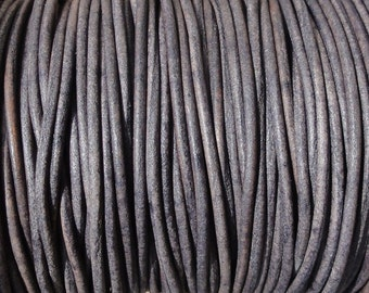 10 Yards 1mm Grey Distressed Leather Cord Round Natural Dye