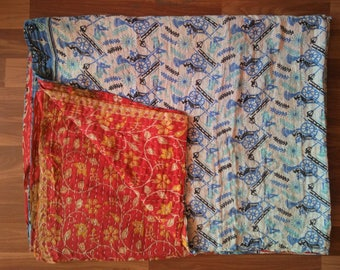 Vintage Handmade Kantha Quilt Reversible Old Sari Kantha Blanket Vintage Kantha Throw Hand Stitched Recycled Cotton
