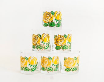 Vintage Couroc Lowball Tumblers Juice Glasses, Yellow Rose Gold Print Mid Century Barware (Set of 6)