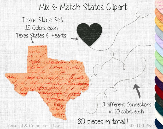 TEXAS STATE to STATE Clipart Commercial Use Clipart Mix & Match Home States Wedding Clipart Texas Heart Map United States Shapes Clipart