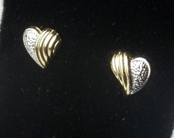 Vintage 1970's 14 K Solid Yellow & White Gold Heart Earrings Post Pierced Ear Fine Jewelry  Valentines Day Gift For Her on Etsy