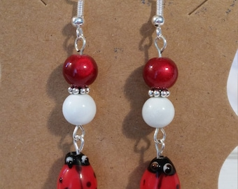 Lady Bug Dangle Earrings with Red & White Glass Beads