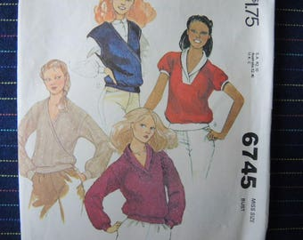 vintage 1970s McCalls sewing pattern 6745 misses tops for stretch knits only size 10