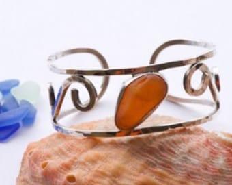 Orange sea glass sterling silver cuff bracelet