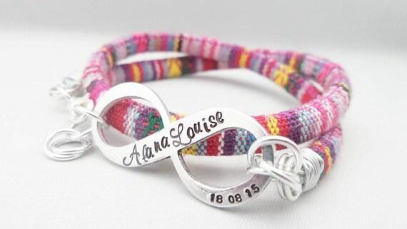 Tribal wrap bracelet - handstamped heart infinity