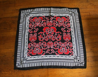 Vintage Black And Red Paisley Print Scarf Bandana. Womens Scarf Accessory With Funky Chic Psychedelic Design. Black Red Handkerchief