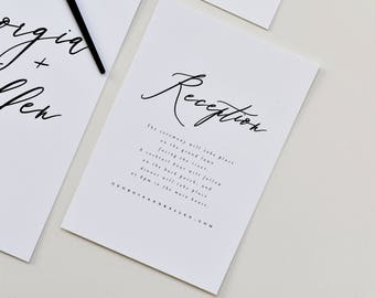 Modern Calligraphy Information Card | Wedding Info Card, Simple Info Card, Wedding Accommodations Card, Simple Directions Club, Info Card