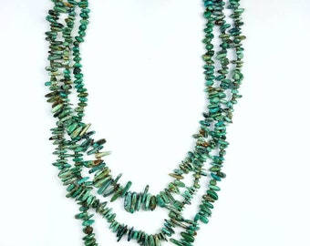 Native American Navajo handcrafted  3 strand graduated Turquoise nugget necklace