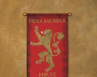 "Hand Painted House Lannister ""Hear Me Roar"" Canvas Banner - Name and Motto - Game of Thrones - Lion Rampant - Sigil - Sign - Cosplay Prop"