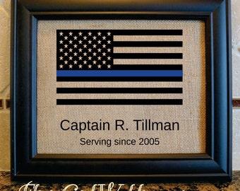 Thin Blue Line Flag - American flag - burlap american flag - Policeman gift - retirement gift - Stars and Strips  (flag9)