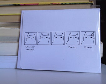 Apathetic Cat Series - birthday greeting card