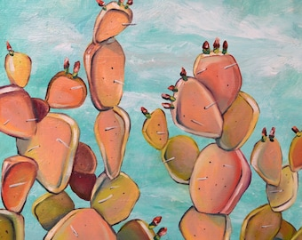 """Limited edition print of """"Sherbert Cactus"""", by Meredith Piper, cactus painting, Southwest art, cactus art, plant art"""