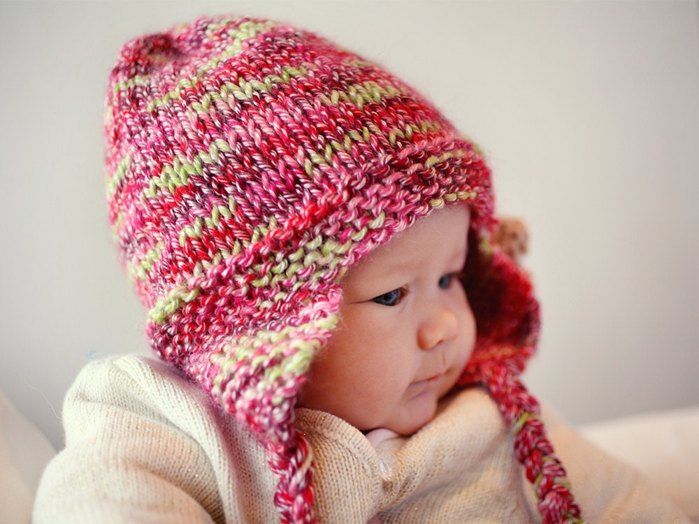 Earflap Hat Pdf Knitting Pattern Hat With Flower Instant