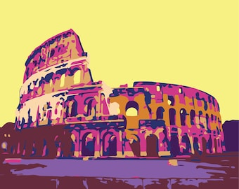 Colosseum Rome Italy Roman Architecture graphic wall art illustration print