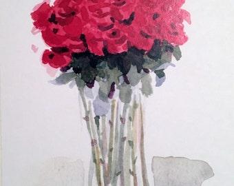 Long-Stemmed Red Roses - Handmade Card