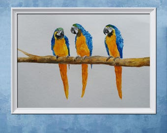 PARROT PAINTING - parrot artwork, macaw art, watercolor bird decor, parrot art, parrot decor, parrot wall art, bird gift