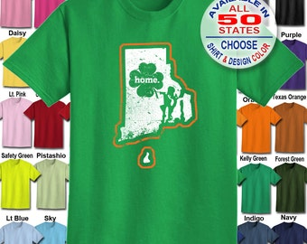 Rhode Island Home State Irish Shamrock  T-Shirt - Adult Unisex - We carry sizes S - 5XL in 30 Colors!
