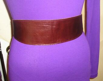 Leather obi wrap belt