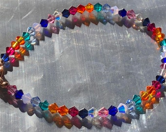 Rainbow and Rose Gold Swarovski Crystal Beaded Bracelet