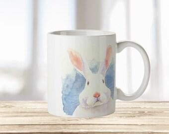 Personalised Cheeky Watercolour Bunny Rabbit Mug   Watercolor Rabbit   Perfect Gift for Christmas   Cute Gift