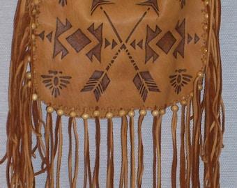 Native American Brown Deer Skin Leather Possible Bag W/ Burned Native Design