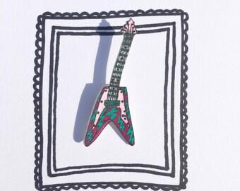 Guitar! handmade & illustrated brooch, pin, badge, one of a kind original design.