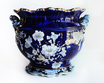 Antique Cobalt Blue Etruria Jardiniere 2567 Morning Glories Open Scrolled Handles Gilt Highlights