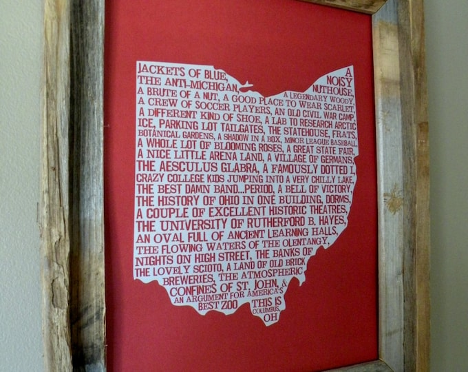 Columbus In A Nutshell Word Art Map Print (Red & Gray) - Unframed