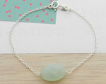 Bracelet with Amazonite stone and silver chain