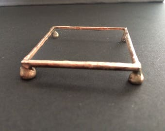 Jewellery display stand, copper ring stand, glass display shelf, craft fair display unit