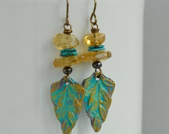 Leaf Earrings, Shabby and Distressed, Citrine Nuggets, Turquoise Slices, Rustic Pewter Art Bead Earrings, Colorful Artisan Earrings